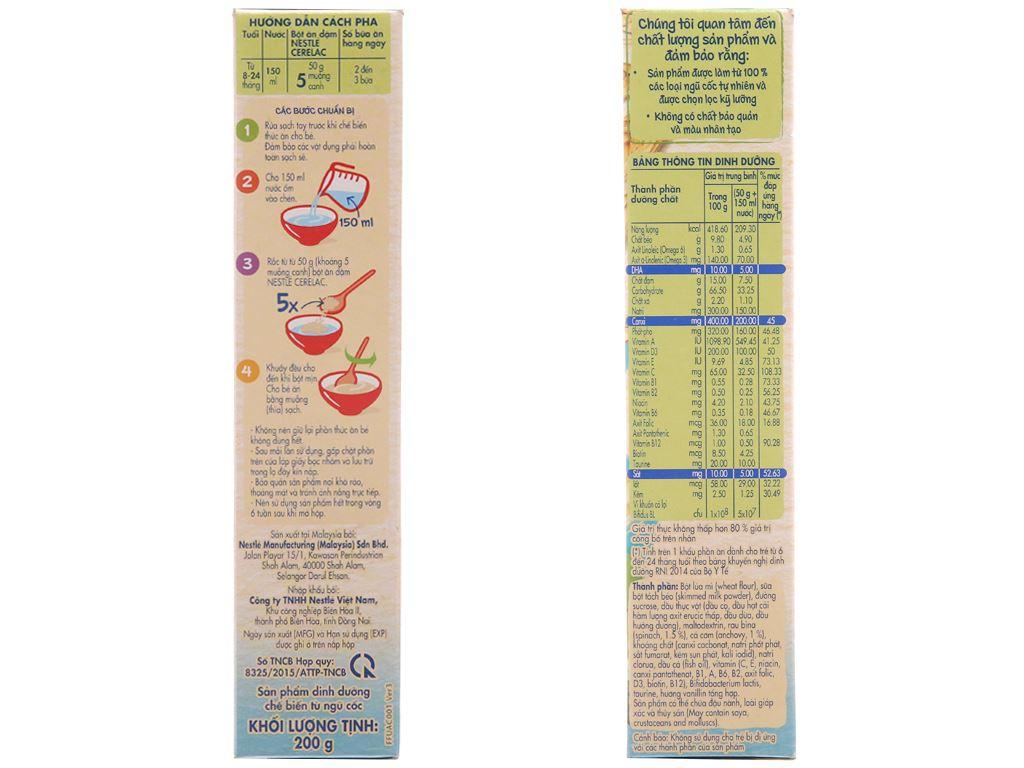 Bột ăn dặm Nestlé Cerelac cá và rau xanh từ 8 tháng 200g 3