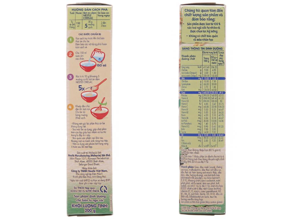 Bột ăn dặm Nestlé Cerelac rau xanh và bí đỏ từ 6 tháng 200g 3