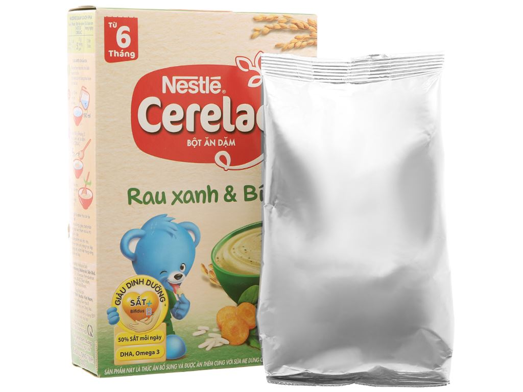 Bột ăn dặm Nestlé Cerelac rau xanh và bí đỏ hộp 200g (từ 6 tháng) 4
