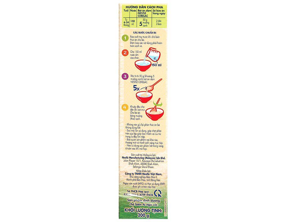 Bột ăn dặm Nestlé Cerelac rau xanh và bí đỏ hộp 200g (từ 6 tháng) 5