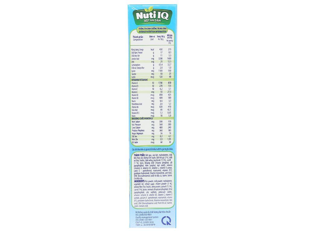 Bột ăn dặm NutiFood Nuti IQ gà bó xôi cà rốt 6 - 24 tháng 200g 3