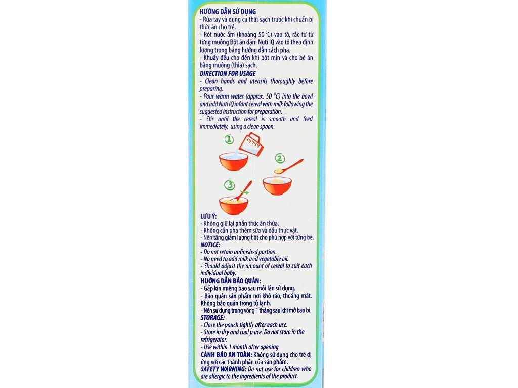 Bột ăn dặm NutiFood Nuti IQ gà bó xôi cà rốt 6 - 24 tháng 200g 8