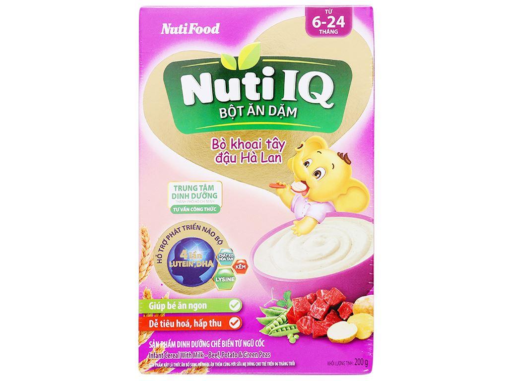 Bột ăn dặm NutiFood Nuti IQ bò khoai tây đậu hà lan hộp 200g (6 - 24 tháng) 1