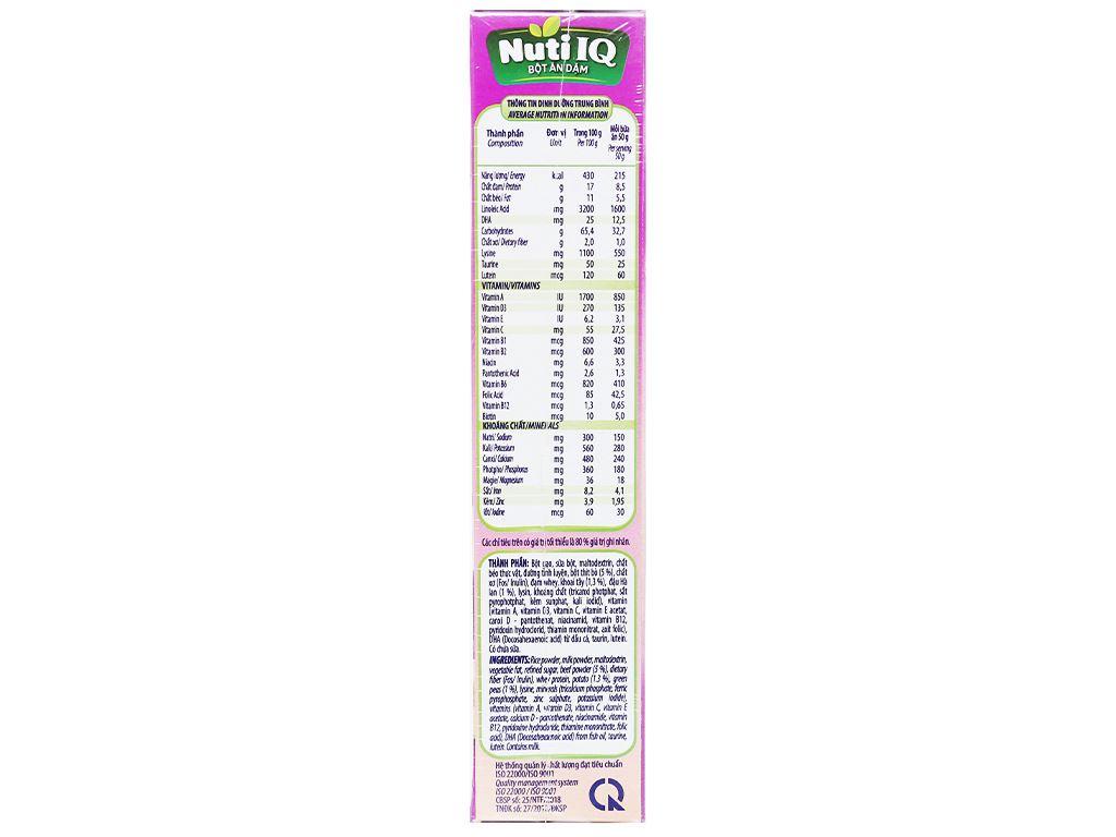 Bột ăn dặm NutiFood Nuti IQ bò khoai tây đậu hà lan hộp 200g (6 - 24 tháng) 3