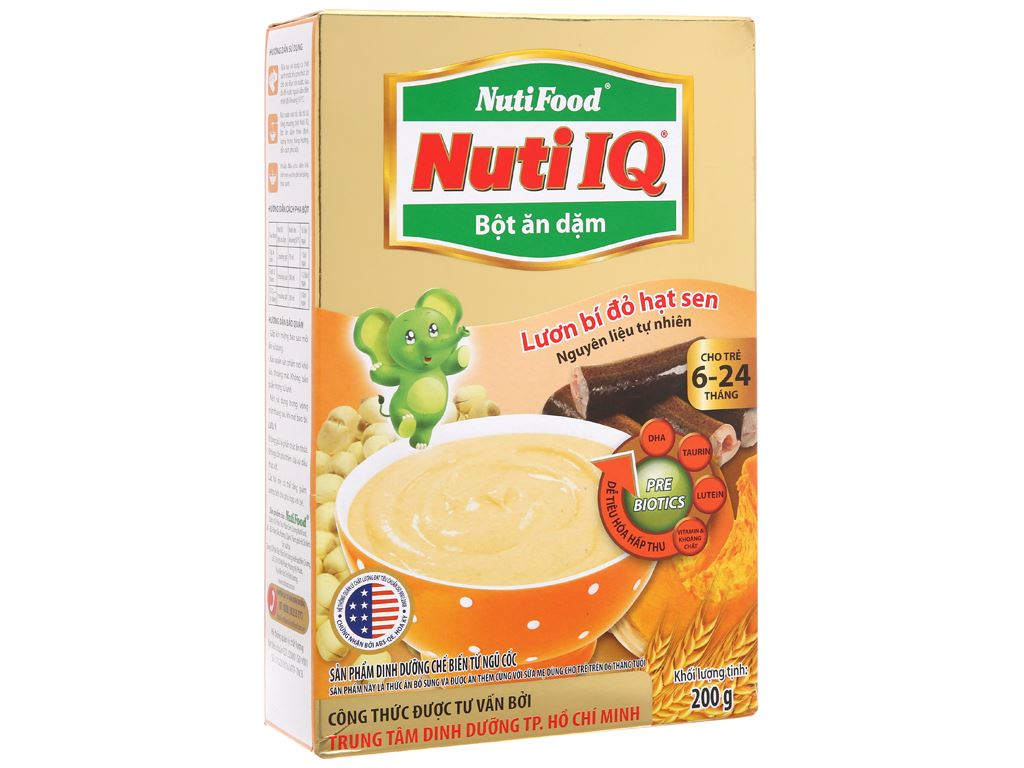 Bột ăn dặm NutiFood Nuti IQ lươn bí đỏ hạt sen hộp 200g (6 - 24 tháng) 2