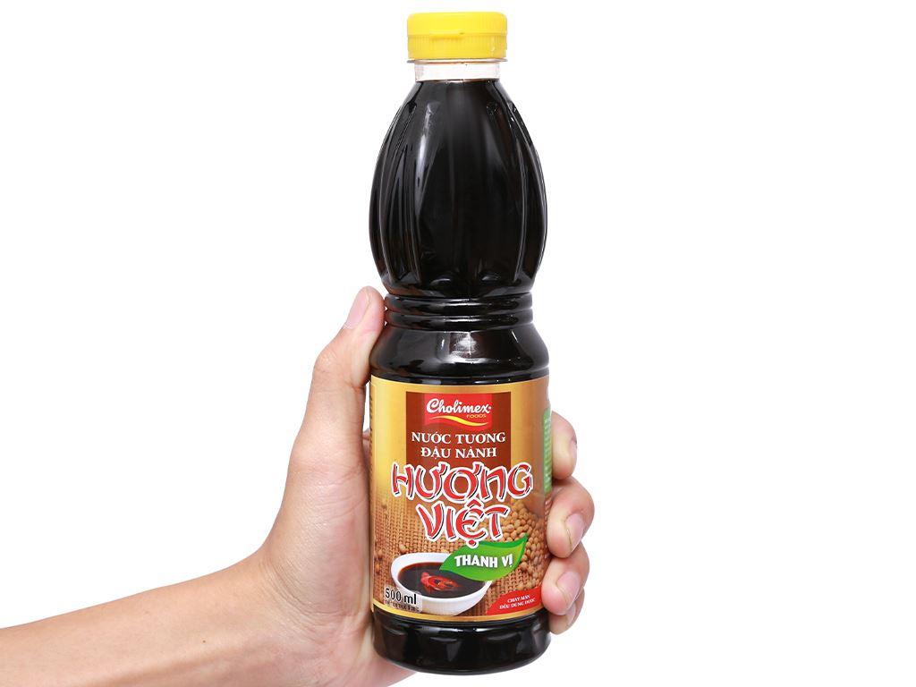 Nước tương đậu nành thanh vị Hương Việt chai 500ml 8