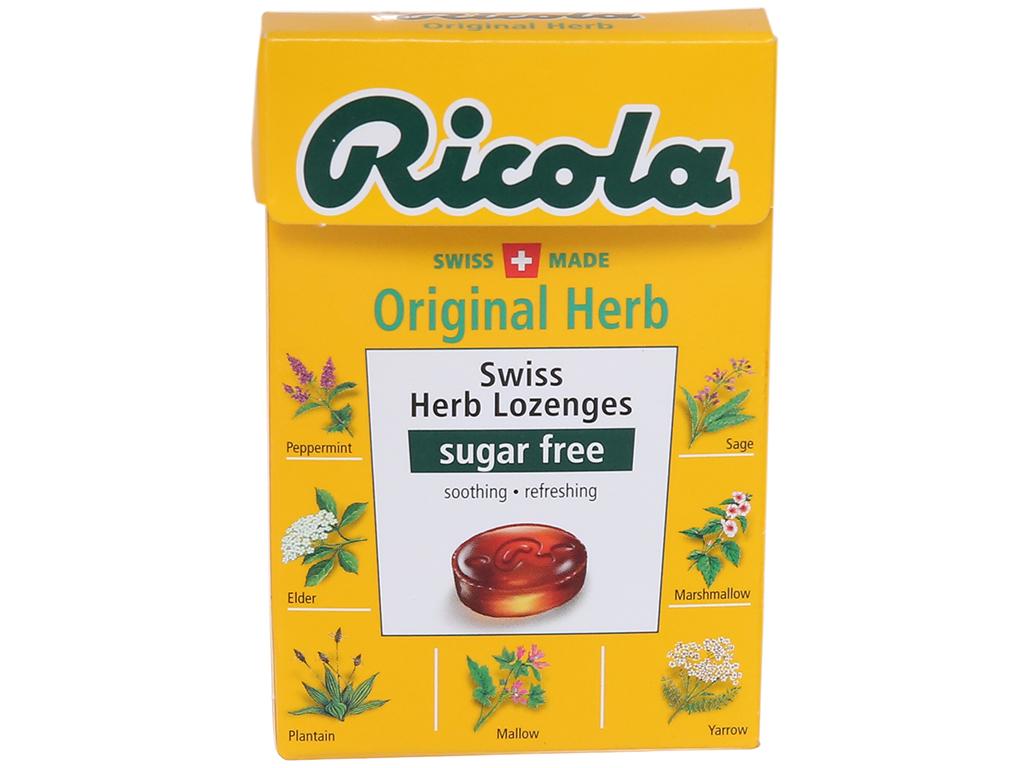 Kẹo ngậm thảo mộc không đường Ricola Original Herb hộp 40g 2