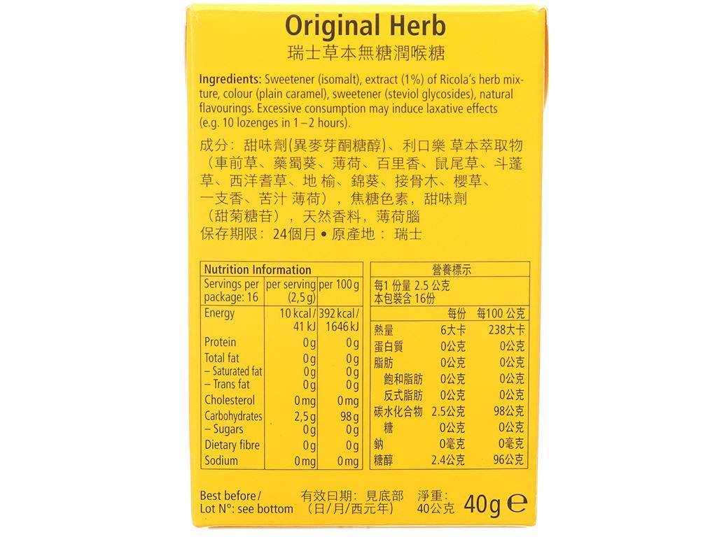 Kẹo ngậm thảo mộc không đường Ricola Original Herb hộp 40g 3