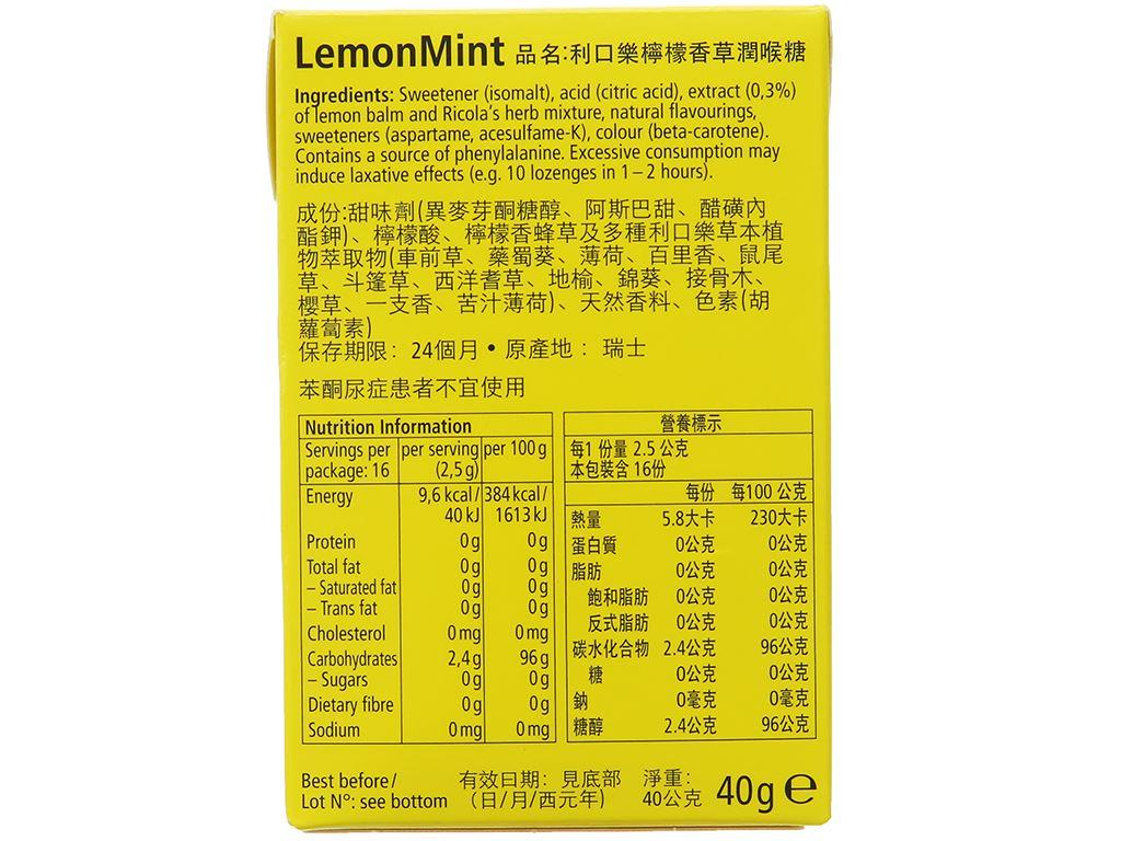 Kẹo thảo mộc không đường chanh bạc hà Ricola LemonMint hộp 40g 3