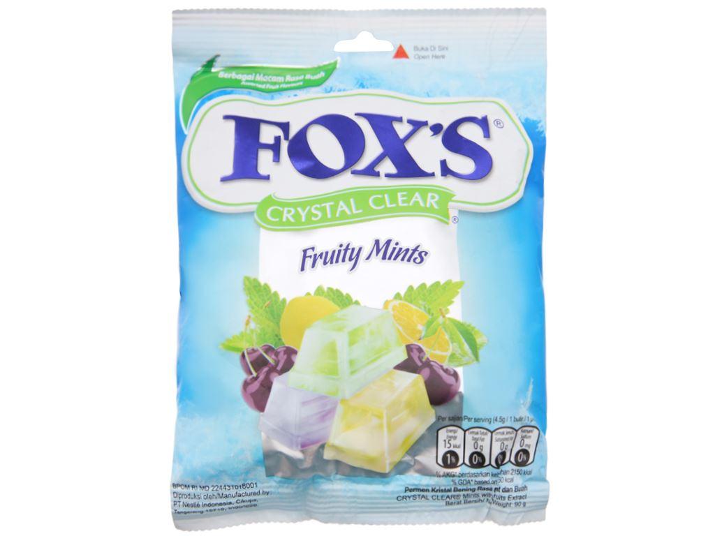 Kẹo hương bạc hà trái cây Fox's gói 90g 2