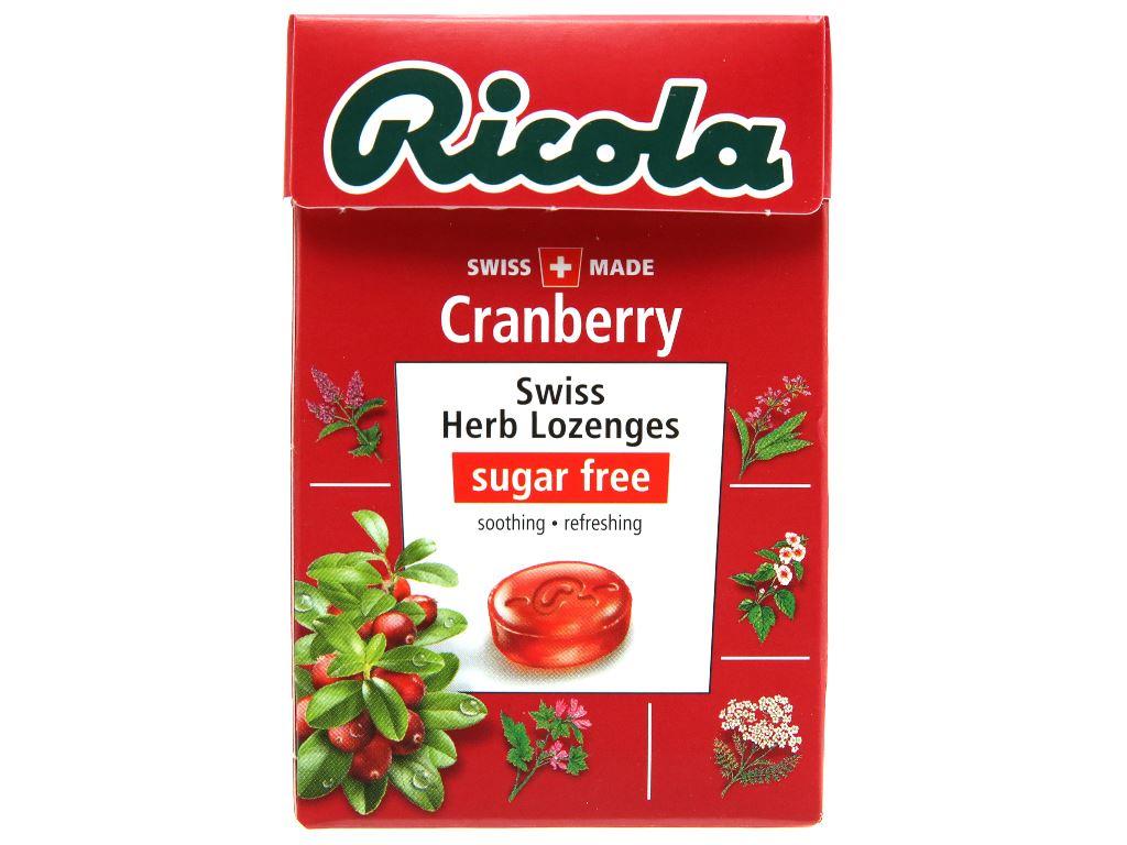 Kẹo ngậm thảo mộc không đường vị nam việt quất Ricola Cranberry hộp 40g 1