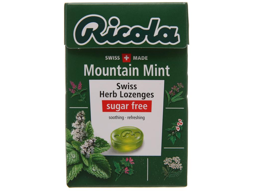 Kẹo ngậm thảo mộc không đường hương bạc hà Ricola Mountain Mint hộp 40g 1