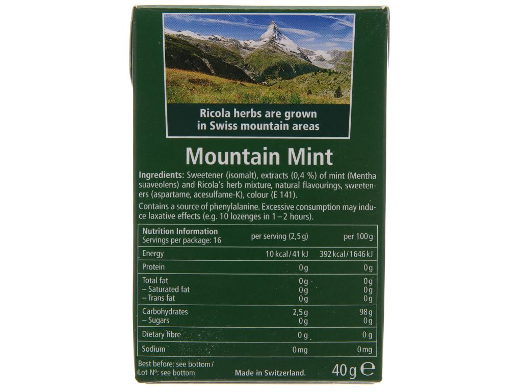 Kẹo ngậm thảo mộc không đường hương bạc hà Ricola Mountain Mint hộp 40g 2