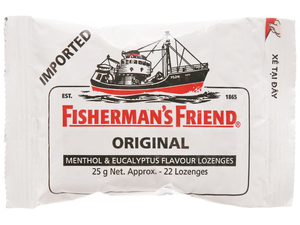Kẹo cay con tàu không đường Fisherman's Friend vị bạc hà và khuynh diệp gói 25g 1