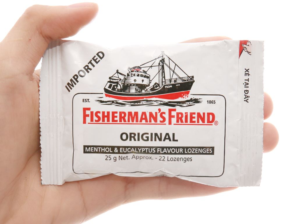 Kẹo cay con tàu không đường Fisherman's Friend vị bạc hà và khuynh diệp gói 25g 3