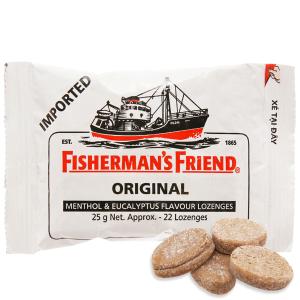Kẹo cay con tàu không đường Fisherman's Friend vị bạc hà và khuynh diệp gói 25g