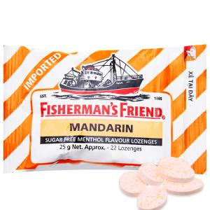 Kẹo cay con tàu không đường Fisherman's Friend vị quýt và bạc hà gói 25g
