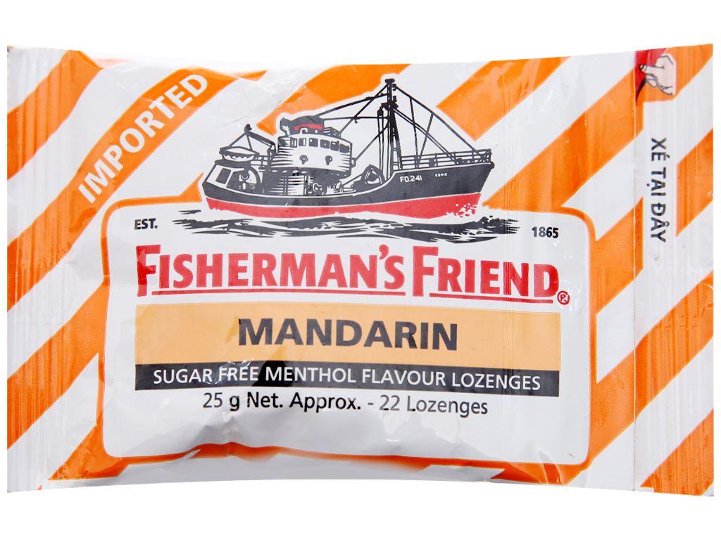Kẹo cay con tàu không đường vị quýt và bạc hà Fisherman's Friend gói 25g 2