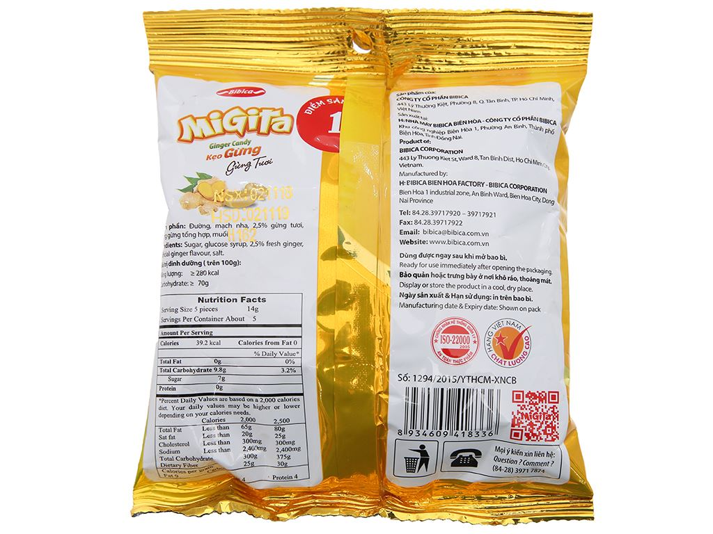 Kẹo ngậm vị gừng Migita gói 70g 3