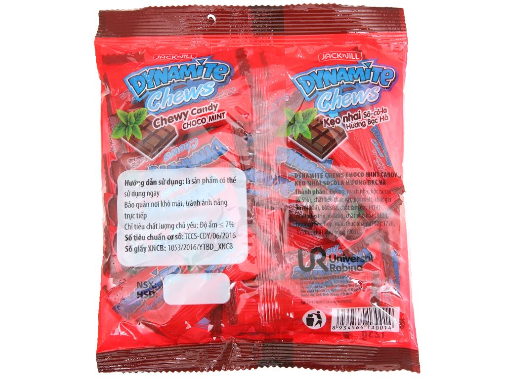 Kẹo nhai socola hương bạc hà Dynamite Chews gói 125g 2