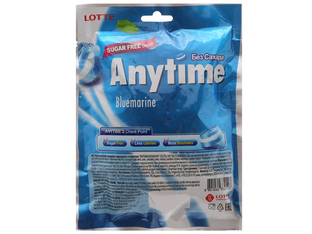 Kẹo ngậm không đường hương bạc hà Anytime Bluemarine gói 74g 2