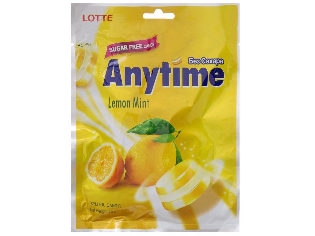 Kẹo ngậm hương chanh bạc hà Anytime gói 74g 2