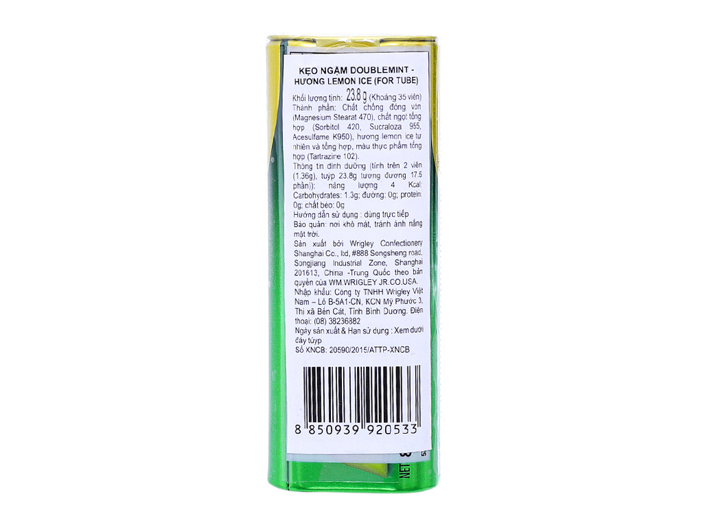 Kẹo ngậm Double Mint Không đường hương chanh 23.8g 3