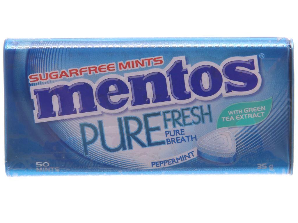 Kẹo ngậm không đường hương peppermint với trà xanh Mentos Pure Fresh hộp 35g 1