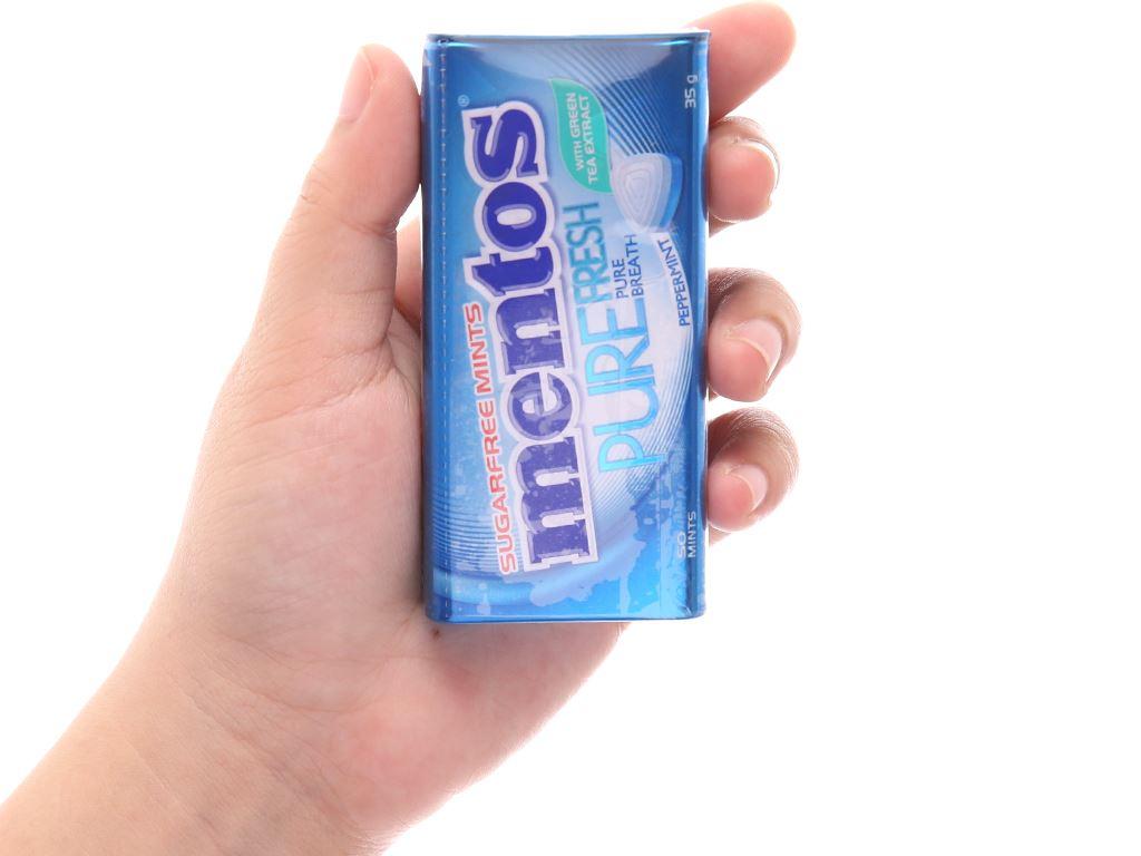 Kẹo ngậm không đường hương peppermint với trà xanh Mentos Pure Fresh hộp 35g 4