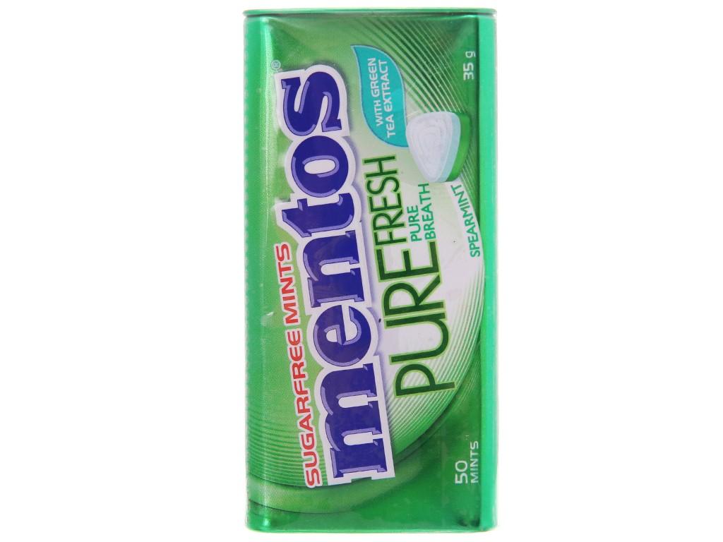 Kẹo ngậm không đường hương spearmint Mentos Pure Fresh với trà xanh hộp 35g 1