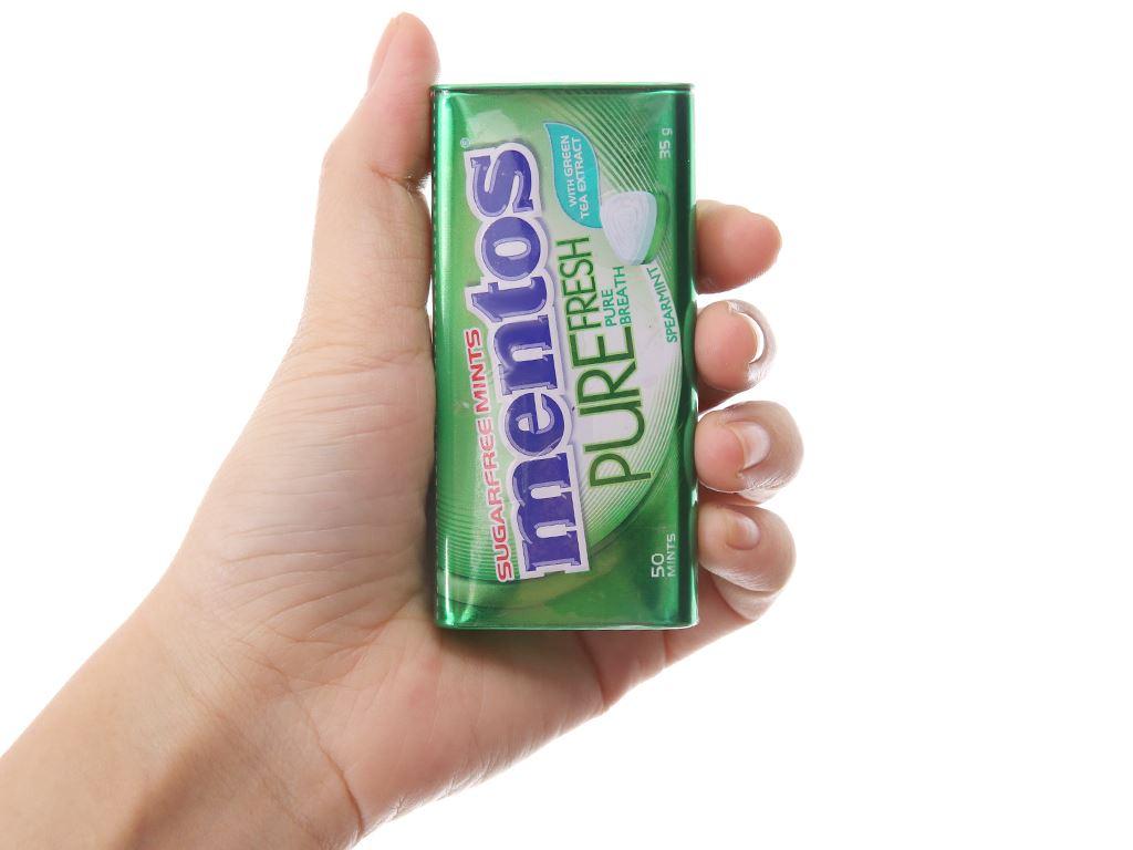 Kẹo ngậm không đường Spearmint và trà xanh Mentos Pure Fresh hộp 35g 4