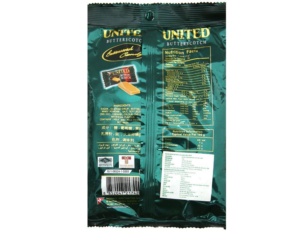 Kẹo bơ United Butter Scotch gói 140g 3