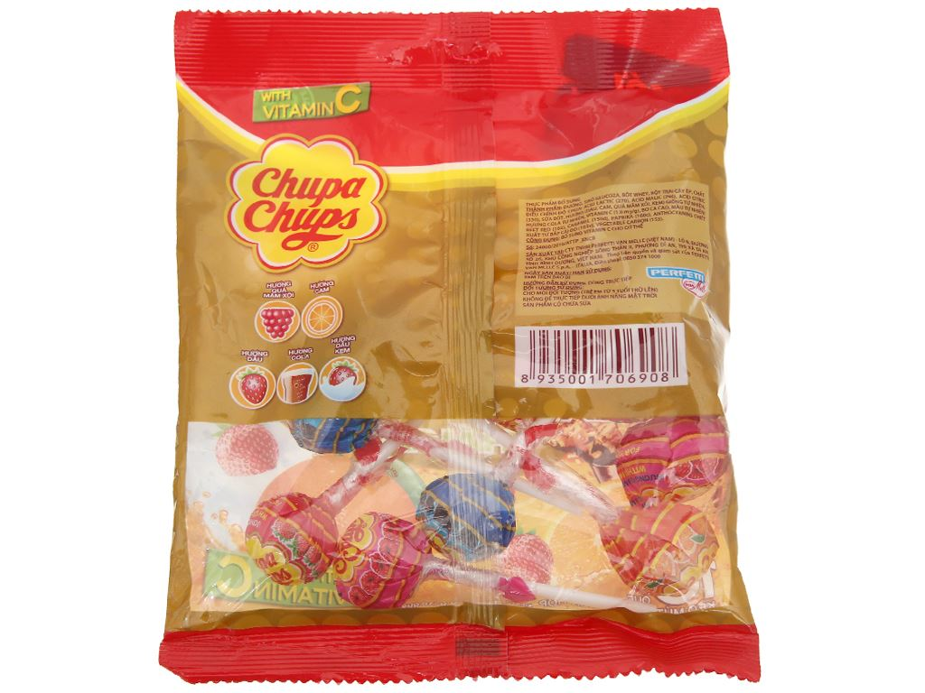Kẹo mút Chupa Chups hương trái cây hỗn hợp gói 100g 2