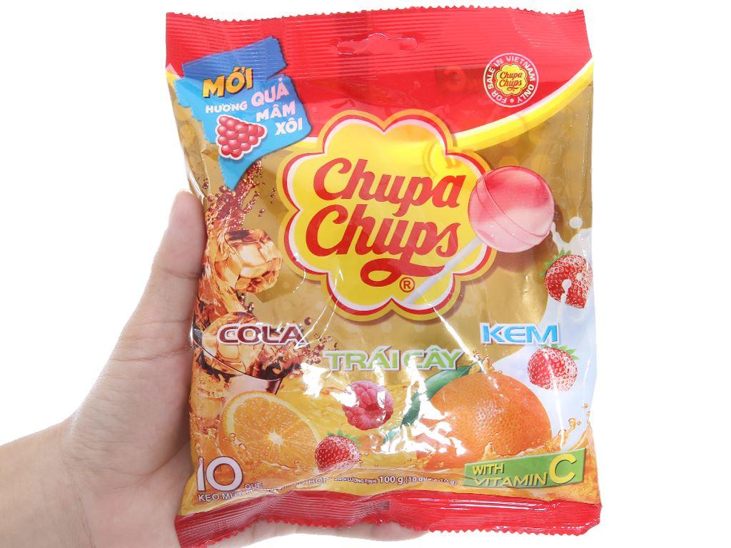 Kẹo mút Chupa Chups hương trái cây hỗn hợp gói 100g 3