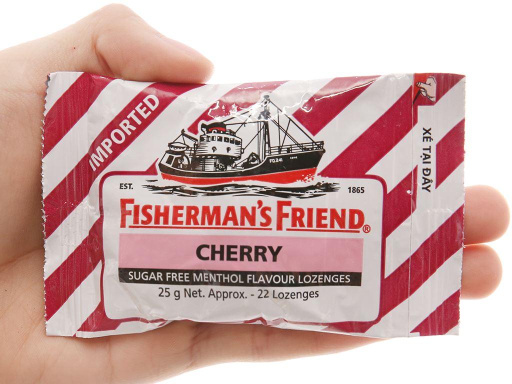 Kẹo cay con tàu không đường Fisherman's Friend cherry gói 25g 3