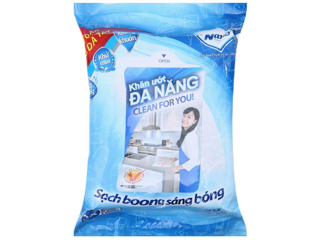 30 tờ Khăn lau đa năng Nano hương tự nhiên túi 30cm 2
