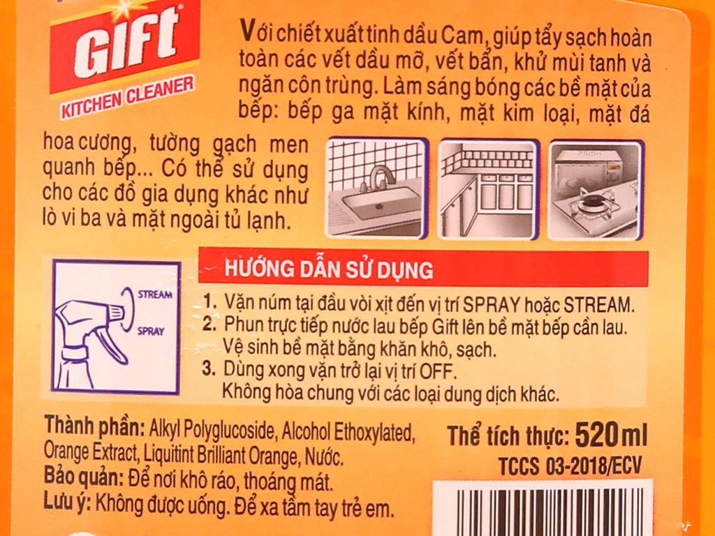 Nước lau bếp Gift Orange Power tinh dầu cam 4