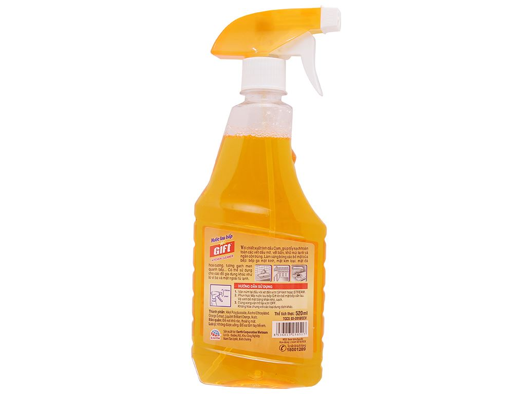 Nước lau bếp Gift Orange Power tinh dầu cam chai 520ml 2