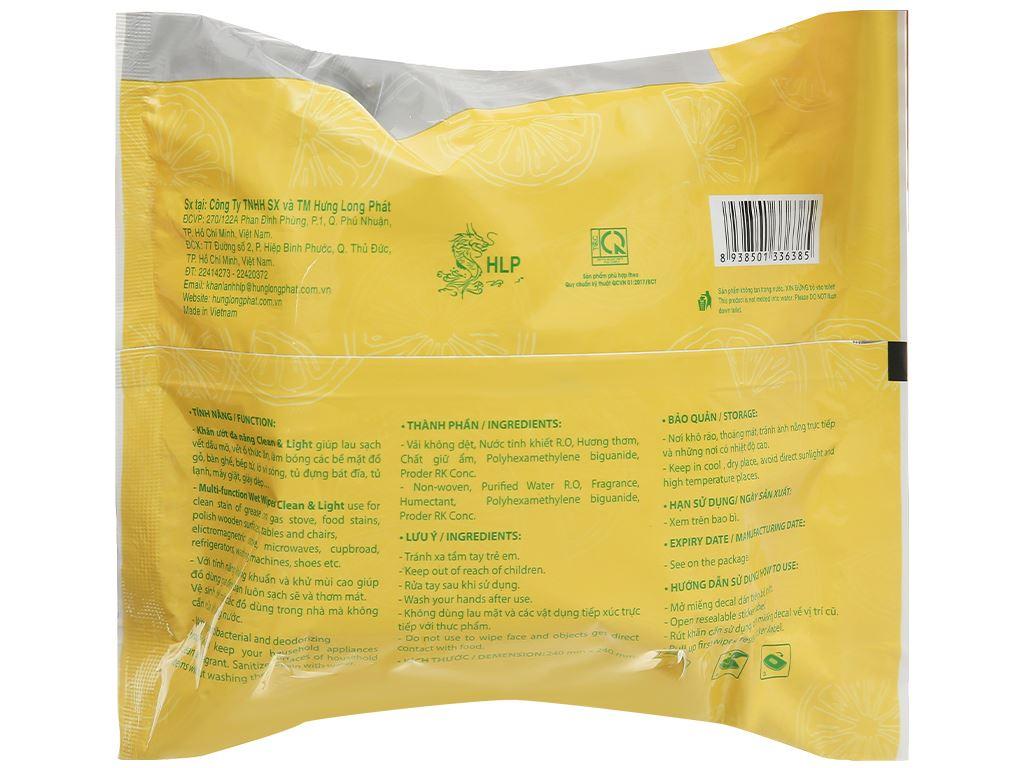 Khăn ướt đa năng HLP Clean & Light gói 30 miếng 2