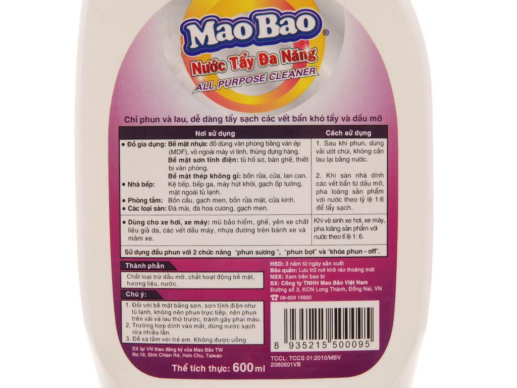 Nước tẩy đa năng Mao Bao 600ml 4