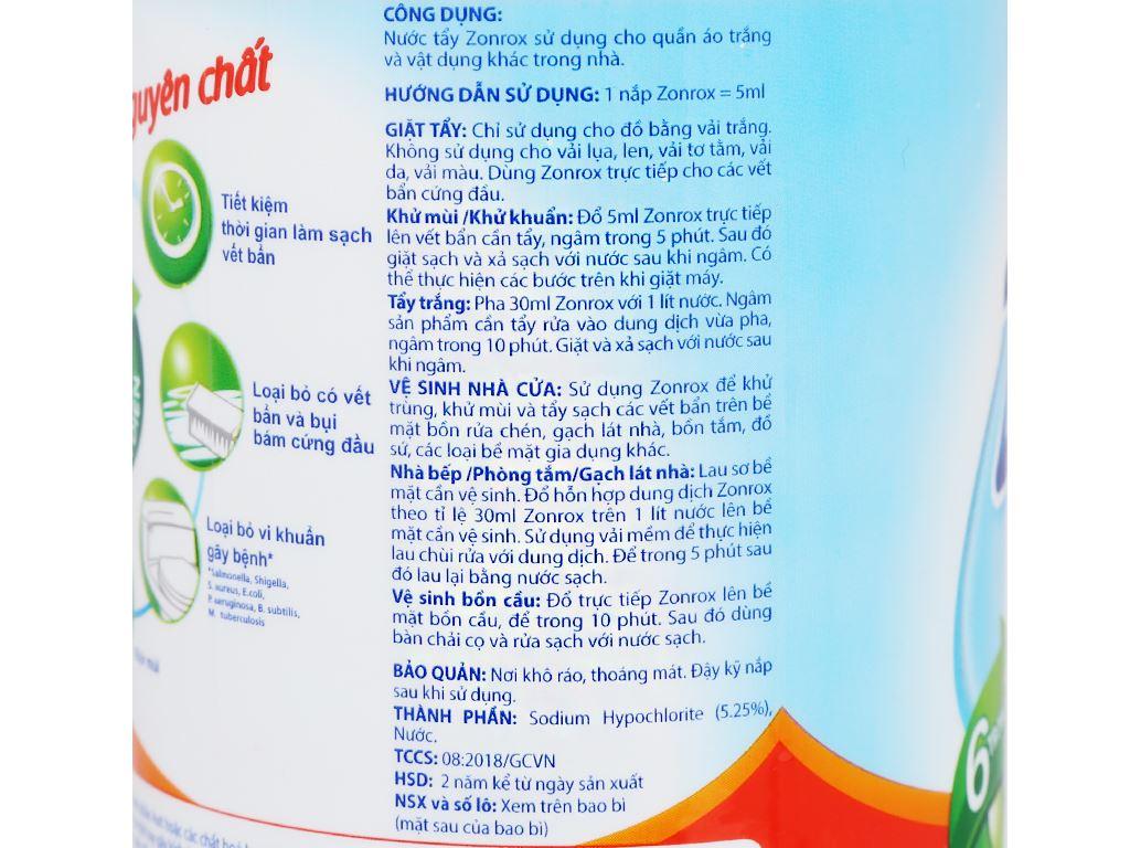 Nước tẩy Zonrox nguyên chất chai 1 lít 4