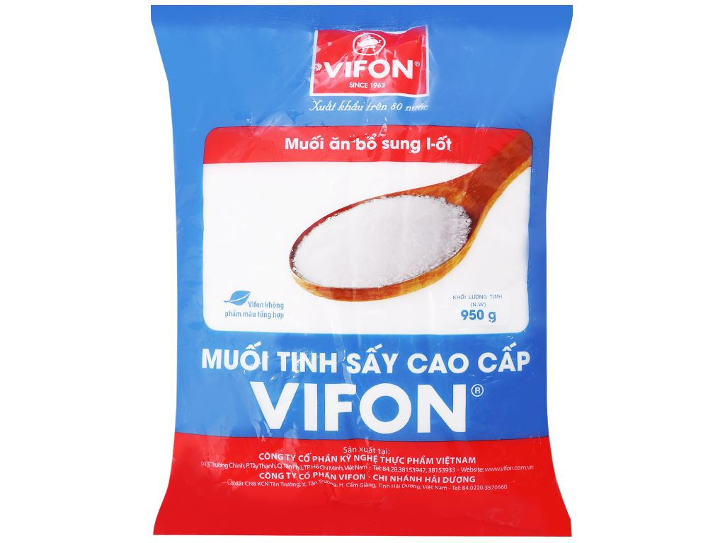 Muối tinh sấy cao cấp Vifon gói 950g 1