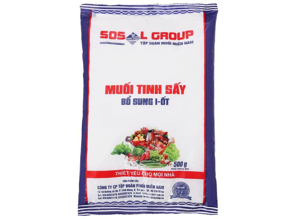 Muối tinh sấy bổ sung i-ốt Sosalco gói 500g 2