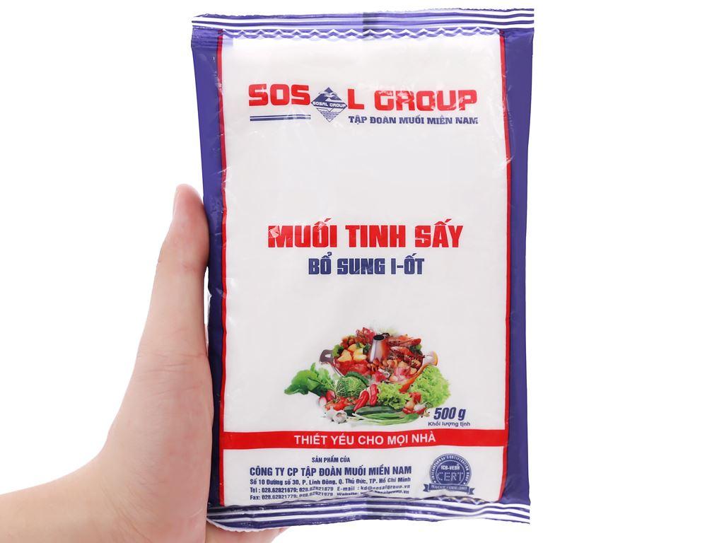 Muối tinh sấy bổ sung i-ốt Sosalco gói 500g 5