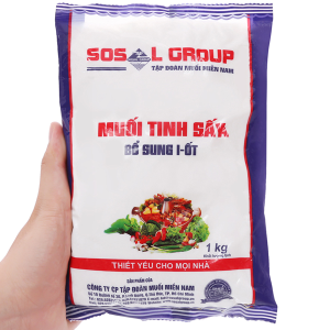 Muối tinh sấy bổ sung i-ốt Sosalco gói 1kg