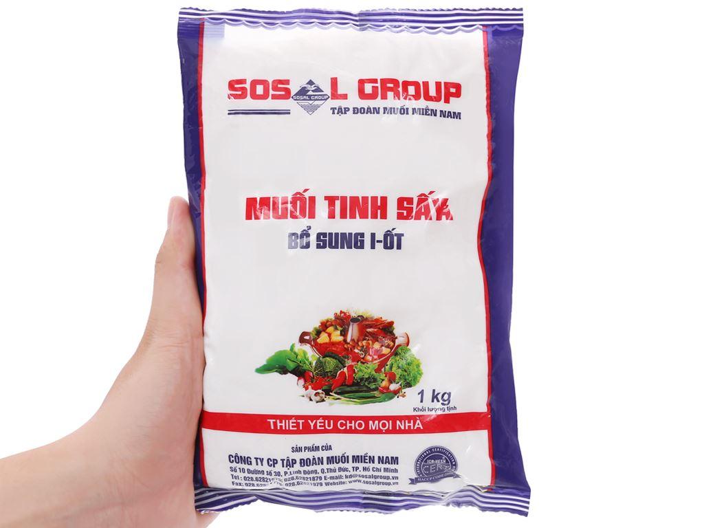 Muối tinh sấy bổ sung i-ốt Sosalco gói 1kg 5