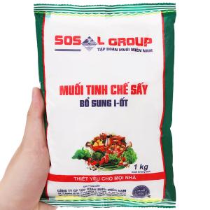 Muối tinh chế sấy bổ sung i-ốt Sosalco gói 1kg