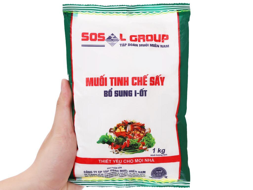Muối tinh chế sấy bổ sung i-ốt Sosalco gói 1kg 5