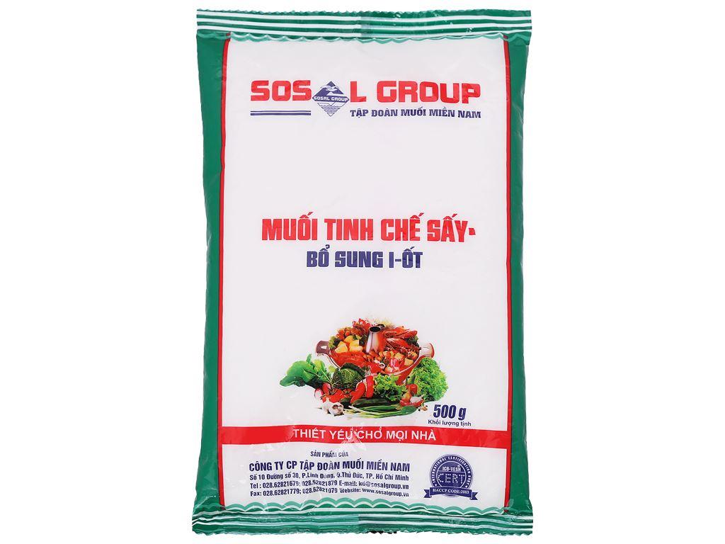 Muối tinh chế sấy bổ sung i-ốt Sosalco gói 500g 2