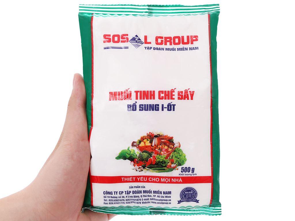 Muối tinh chế sấy bổ sung i-ốt Sosalco gói 500g 5